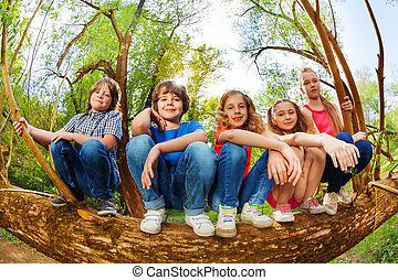 Kids sitting on trunk of fallen tree in the forest -...