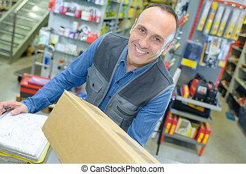 Retailer receiving delivery
