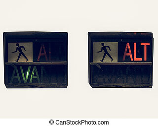 Vintage looking Red traffic light - Vintage looking Italian...