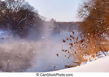 Sun and snowflakes. Sunny winter morning on a river