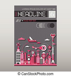 Modern City vector template layout size A4
