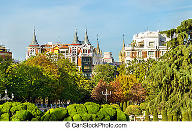 Parterre garden in Buen Retiro Park - Madrid, Spain - The...