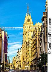 Telefonica Building in Gran Via street - Madrid, Spain