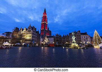 Christmas on Grote Markt in Antwerp. Antwerp, Flemish...
