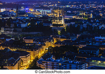 Aerial panorama of Basel. Basel, Basel-Stadt, Switzerland.