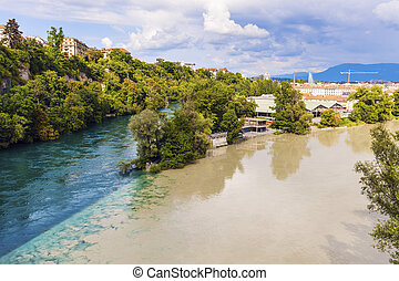 Confluence of the Rhone and Arve Rivers in Geneva. Geneva,...