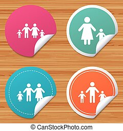Family with two children sign. Parents and kids. - Round...