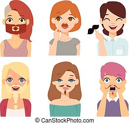 Woman emoji face vector icons. - Girl emotion faces cartoon...