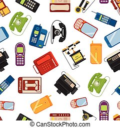 Telephones vector icons sealess pattern