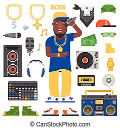 Hip hop man vector. - Hip hop man musician with microphone...