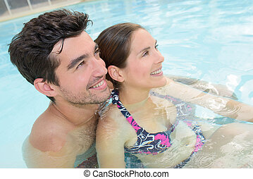 couple in the swimming pool