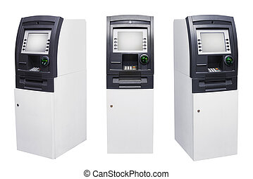 Set of Automated Teller Machine or ATM isolated over white...