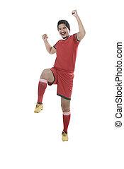 Winning football player after scoring - Image of winning...