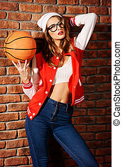 basketball fan - Portrait of a pretty smiling girl with...