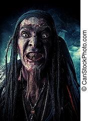 grinning pirate - Horror novel character. Aggressive angry...