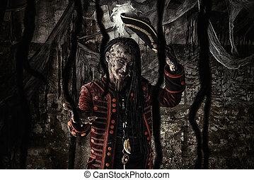 zombie captain - Portrait of a noble brave dead pirate....
