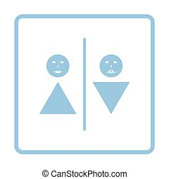 Toilet icon. Blue frame design. Vector illustration.