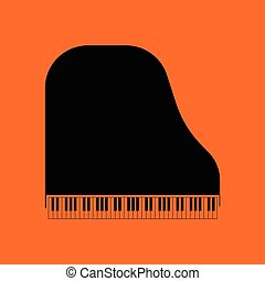 Grand piano icon. Orange background with black. Vector...