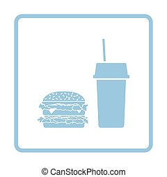 Fast food icon. Blue frame design. Vector illustration.