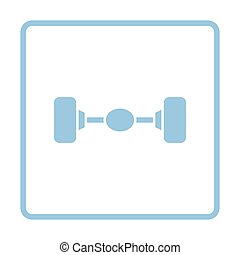 Car rear axle icon. Blue frame design. Vector illustration.