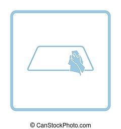 Wipe car window icon. Blue frame design. Vector...