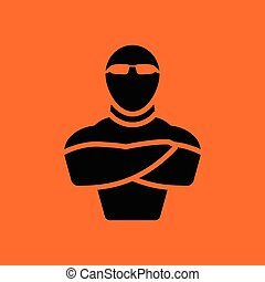 Night club security icon. Orange background with black....