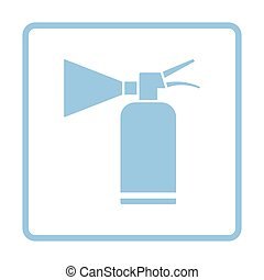 Extinguisher icon. Blue frame design. Vector illustration.