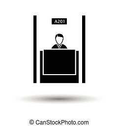 Bank clerk icon. White background with shadow design. Vector...