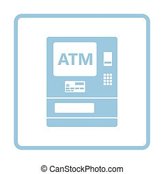 ATM icon. Blue frame design. Vector illustration.