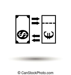 Currency exchange icon. White background with shadow design....