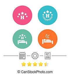 Five stars hotel icons. Travel rest place.
