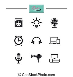 Home appliances, device icons. Ventilator sign. Hairdryer,...