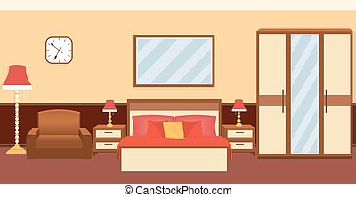 Bedroom interior in warm colors with furniture. Flat vector...