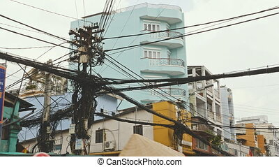 The web of power lines on the streets of Ho Chi Minh City 2...