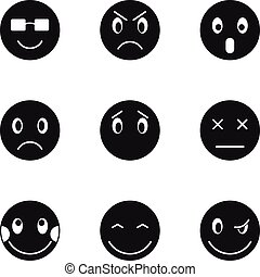 Emoticons icons set, simple style