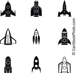 Fast rockets icons set, simple style