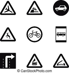 Street sign icons set, simple style - Street sign icons set....