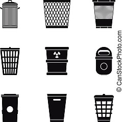 Rubbish bin icons set, simple style - Rubbish bin icons set....
