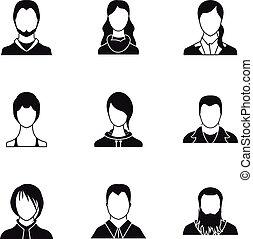 Avatar people icons set, simple style