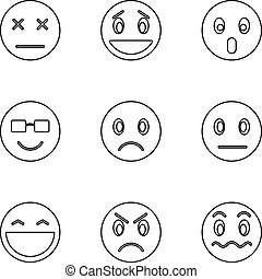 Emoticons for chatting icons set, outline style - Emoticons...