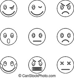 Emoticons icons set, outline style - Emoticons icons set....