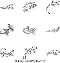 Iguana icons set, outline style