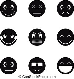 Types of emoticons icons set, simple style - Types of...