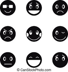 Round smileys icons set, simple style - Round smileys icons...