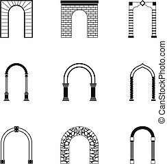 Archway icons set, simple style - Archway icons set. Simple...