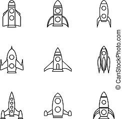 Fast rockets icons set, outline style