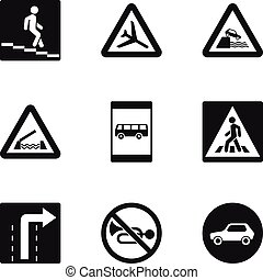 Road sign icons set, simple style