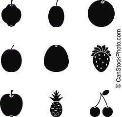 Fresh fruit icons set, simple style - Fresh fruit icons set....