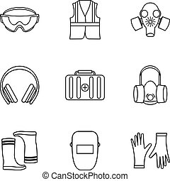 Repairs icons set, outline style - Repairs icons set....