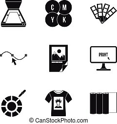 Printing icons set, simple style - Printing icons set....